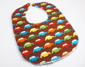 Cotton Chenille Toddler Bib with Adjustable Snaps - Traffic Jam