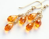 Tangerine Orange Trio Earrings with Swarovski Teardrop Crystals and Gold Fill