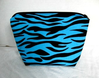 Zebra Make Up Bag Turquoise Zippered  Flat Bottom Cosmetic Pouch