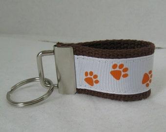 Mini Key Fob Paw Print - Brown Orange School Mascot- Paw Print Key Chain - Zipper Pull - Panther Paw Print - Cat Paw Print