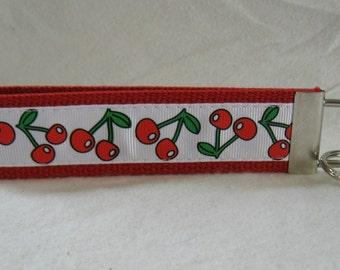 Cherry Key Fob Fruit Key Chain Cherries on Stem Large Wristlet Keychain RED