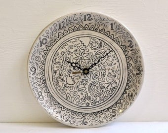 Ceramic Wall Clock- Black and White- Floral Design