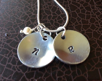 Domed initial wedding necklace couple NC036