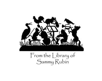 Band of Animlals silhouette Personalized Bookplate Childrens Bookplate custom rubber stamp