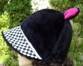 Black Fur Cat Hat Checkered Ear Hat with Brim Warm Derby Winter Adult Ski Costume Hat