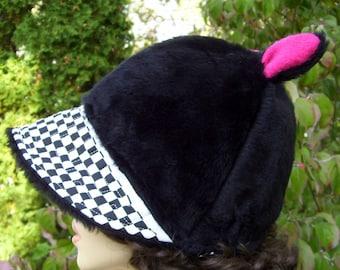 Black Fur Cat Hat Checkered Ear Hat with Brim Warm Derby Winter Adult Ski Costume Hat