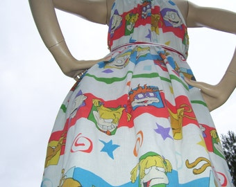 Rug Rats Sundress Upcycled Mom Party Sundress Stripe Angelina Cartoon Geek Dress Cruise Resort Beach Maternity Sundress Adult S M L XL