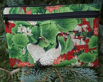 Japanese large clutch, optional wristlet or shoulder strap, diabetic supply case, Cranes and Waterlillies, The Morning Glory