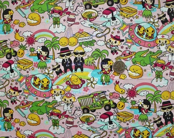 Kawaii Anime Hawaii Favorites Pink Fabric - Half Yard
