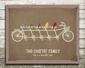 Custom Family Wall Art - Birds on a Bicycle to Represent Family Members - As Seen in Pregnancy and Newborn Magazine