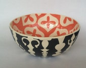 Ornate Grey and coral  Serving Bowl