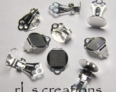 Clip On Earclip 16mm with 11mm Pad Silverplated Steel - 10 Pairs