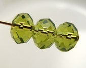 6x4mm Crystal Rondelles Faceted Beads Olive Green Abacus (Qty 15) MW-6x4R-OG