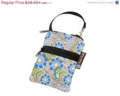 ON SALE Cell Phone Bag Small Crossbody Bag iPhone Shoulder Purse Cross Body Purse - Short Zip Cell Phone Bag - Fast Shipping - Blue Fleur Fa