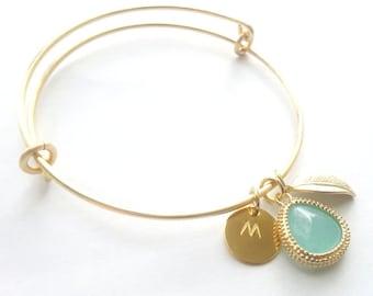 Initial Bangle Bracelet, Mommy Bracelet, Mommy Jewelry, Personalized Bracelet, Adjustable Bangle Bracelet, Gift Idea under 50, gift under 35
