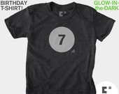 7th Seventh Birthday Shirt, Glow-in-the-Dark, Kids BIRTHDAY TShirt, 7th Birthday, Boys, Seventh Birthday T-Shirt, Kids Birthday Party Favors
