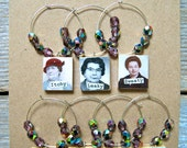 SALE - The 7 Gals of Menopause Wine Charms - Vintage