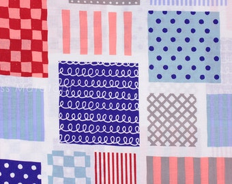 Japanese Fabric Kokka Patch - red, blue - 50cm