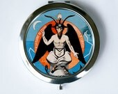 Baphomet satan Compact Mirror Pocket Mirror deity goat head pagan witchcraft wicca gothic
