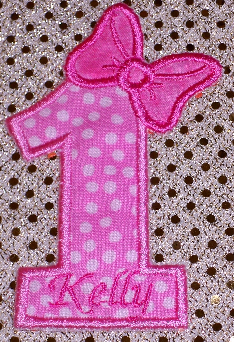 pink with polka dots fabric birthday by uniqueembroideries4u. Black Bedroom Furniture Sets. Home Design Ideas