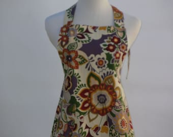 Ladies Apron With Pretty Earth Tone Flowers