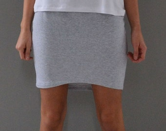 Mini skirt with curved hem.  Pencil skirt.  Bodycon skirt.  Grey french terry.  xs, s, m, l