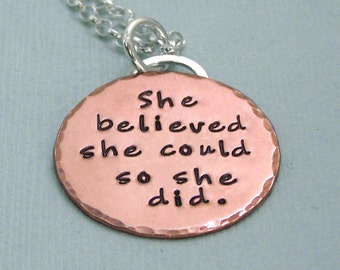 she believed she could so she did - Pink Gold Filled Affirmation Pendant on Sterling Silver Chain