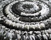 Round Rug - Black & White - Handmade - Large Floor Rug - Machine Washable - Floor Covering - Area - Throw - Crochet - Repurposed Fabrics