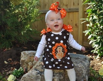 Chocolate Brown Polka Dot Thanksgiving FALL Turkey Applique with Monogram Initial Dress