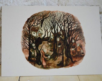 The Visitors - A4 print on cream card