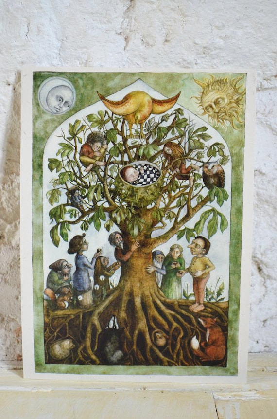"""Anja in the Horse Chestnut - 7"""" x 5"""" print on cream card"""