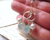 Chalcedony Earrings, Aqua Chalcedony, Faceted Briolettes, Swarovski Pearls, Sterling Silver, March Birthstone, Dangling Gems candies64