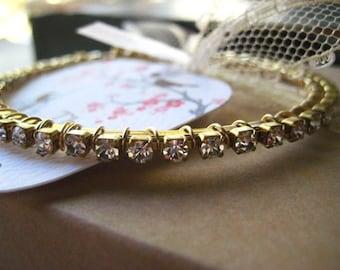 Bangle Bracelet, Swarovski Elements, Rhinestone Chain, Pure Brass, Stacking Bracelet, Boho Style, Womens Jewelry candies64