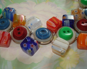 Vintage Colorful Glass and Resin Buttons with Millefiori Glass Bead Bracelet