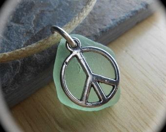 Sea Glass Necklace - Beach Glass Jewelry - PEACE