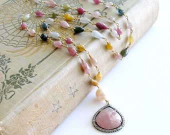 Pink Sapphire Pave Diamonds Multi Sapphire Necklace - Licia Necklace