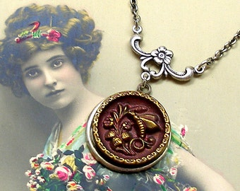BEE Antique BUTTON necklace, Victorian Insect on silver chain. Antique button jewelry, jewellery.
