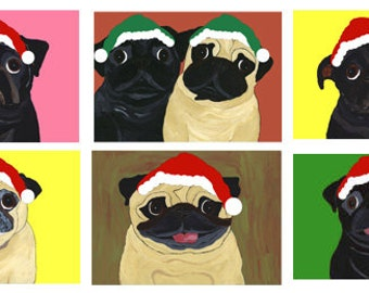 Holiday Pug Cards - Festive Black and Fawn Pugs - 10 Designs