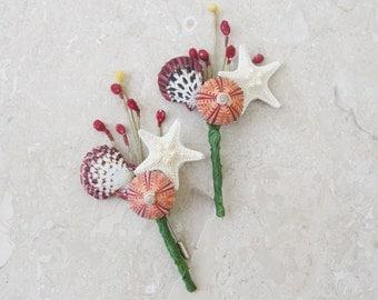 Sea Urchin Boutonniere - Beach wedding, Starfish Seashell Sea urchin, Burgundy Boutonniere, Beach Boutonniere, Groom, Nautical Wedding
