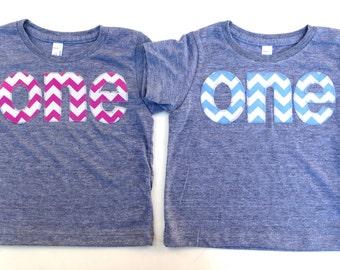 Fuchsia or Light Blue First 1st Birthday Shirt pick one Chevron Number Birthday T Shirt  triblend grey Birthday Shirt Twins Triplets bro sis