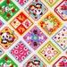 LAST Half Yard - Kawaii Cheater Diamonds on WHITE - Cats, Strawberries, Apples, Flowers, Panda, Deer, Kitty, Duck - Cosmo Textile Japanese