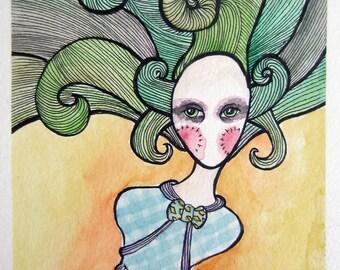 Femme Joker Speechless Girl - Original watercolor 6 x 8