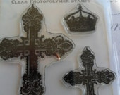 Something Tattered Vintage Style French Cross Images Clear Cling Rubber Stamp