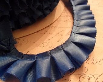 Royal  Blue Satin Box Pleat  Ruffle Trim 7/8 inch