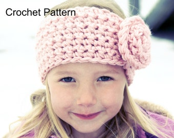 Instant Download, Crochet PATTERN PDF - Earwarmer Toddler, Child, Preteen to Adult sizes included