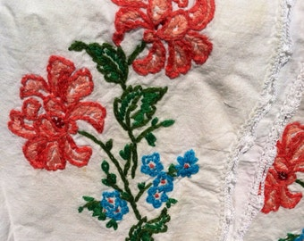 Vintage 1950s Hand Embroidered Flowered Pillowcase Set OOAK Gift Pink Green Sale