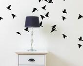Bird Wall Decals - Flock Of Birds Decals - Birds Flying Wall Decals - Bird Wall Mural Decall - Statement Decal - WD1065