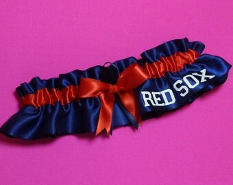 Boston Red Sox Wedding Garter with Red Sox word    Handmade   Keepsake  Satin nr2