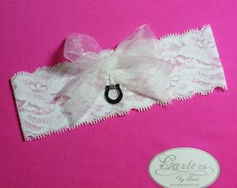 Indianapolis Colts Wedding Garter  White Lace Handmade Keepsake Garter with Charm