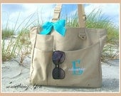 Personalized Initial and Name Tote - Personalized Large Tote, Monogrammed Diaper Bag Solid Color Organizer Baby Shower Teacher Gift Idea